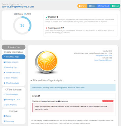 SEO Analyzer Audit Report Tool